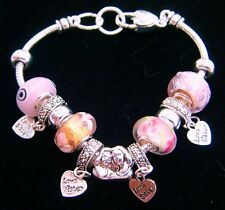 SISTERS Euro Charm Slider Bracelet-Pink/White Murano Glass beads-8 Inches