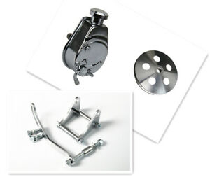 SB Chevy SBC Chrome Saginaw Style Power Steering Pump W/Bracket Pump &Pulley kit