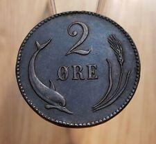 1875 Denmark 2 Øre / 2 Ore World Animal Coin-Porpoise-High Grade