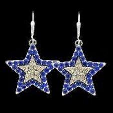 Blue Star/ bling  dangle earrings