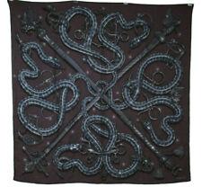 HERMES Purple & Gray CADUCEE ROCK 100cm Cashmere Silk Square Scarf