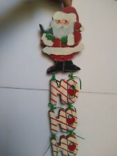 Carved Wooden Santa Claus Door Hanger HO HO HO Hand Painted