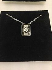 Ace Of Spades Card R149 English Pewter on a Silver Platinum Plated Necklace 18""