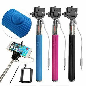 Expandable Telescopic Monopod Wired Selfie Stick Holder For Mobile Phone iPhone