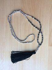 Long Black And Silver Seed Bead Necklace With BlackTassel 23 Inches Boho Evening