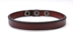 Brown Single Wrap Cool Genuine Leather Bracelet Cuff Wristband Snap Closure Mens