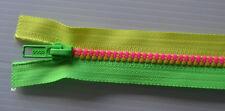 Extra Long 49cm close end zip - Fluro Yellow Green Pink