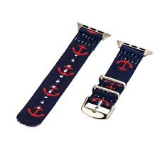 Anchor Navy/Red - 2 Piece Classic SS Nylon Watch Band for 38mm Apple Watch