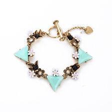 Bracelet Doré Chaine Fleur Feuille Metal Triangle Vert Pale CT 5