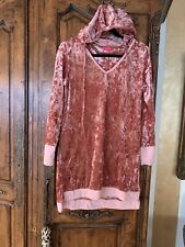 betsey johnson Pink Sleep Shirt Crushed Velvet With Hood Size Small