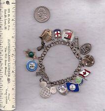 Charm Bracelet Sterling Silver Travel Goddess Athena Coin Epcot C Mickey 44.8 Gr