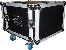 """CTG 8RU 19"""" amplifier rack case flightcase on wheels NEW"""