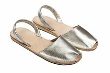 Women's Handmade Sandals Genuine Leather Silver Color Size 8