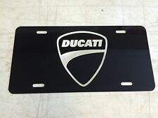 Ducati Logo Car Tag Diamond Etched on Black Aluminum License Plate
