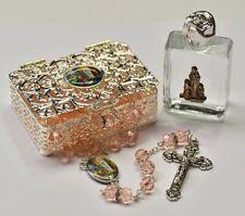 Lourdes Rosary Beads Gift Set with Swarovski Elements & Lourdes Holy Water.