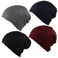 FSH .Cable Ribbed Knit Faux Fleece Fur Warm Inner Lined Slouch Beanie Ski Cap