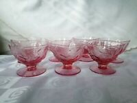 Seneca Driftwood Pink Footed Low Sherbet Champagne Rose Set of 7