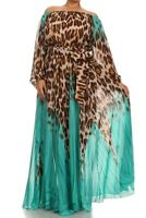 Plus Brown Teal Blue Leopard Off Shoulder Boho Chiffon Maxi Dress Full Sweep 1X
