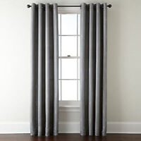 1 SILVER PANEL BLACKOUT HEAVY THICK SILVER GROMMET WINDOW CURTAIN LINED DRAPES