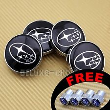 4 Car Alloy Wheel Center Hub Cap Emblem Badge Black Logo For Subaru 59mm