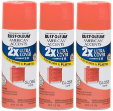 (3) Rust Oleum American Accents Ultra Cover 2X Spray Paint - Gloss Coral - 12 oz