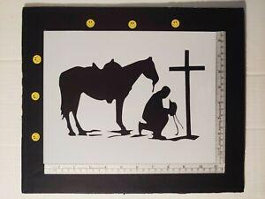 "Cowboy Kneeling Praying Cross Horse 8.5"" x 11"" Custom Stencil FAST FREE SHIPPING"