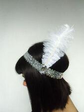 Headband rétro brillant élastique sequin argenté plume blanche années folles 20'