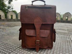 Handmade Brown Leather Back Pack Rucksack Large Travel Bag For Men's and Women's