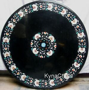"""36"""" Marble Dining Table Top Elegant Floral Pattern Patio Sofa Table for Decor"""