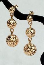 18k Solid Yellow Gold Three Balls Stud Dangle Earrings, Diamond Cut 2.50grams