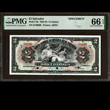 Banco Central de El Salvador 2 Colones 1942 SPECIMEN PMG 66 GEM UNC EPQ P-76s