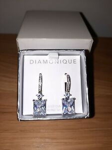 Qvc Sterling Silver large Princess cut Diamonique earrings