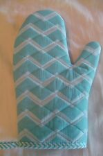 Turquoise & White Chevron Grill & Oven Mitt,Handmade,Quilted,Lined,100% Cotton