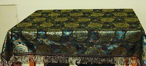 Tischdecke mit Fransen Decke schwarz türkis Gold original Art Dèco 1930