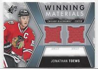 2014 SP Winning Materials jersey hockey card Jonathan Toews Chicago Blackhawks