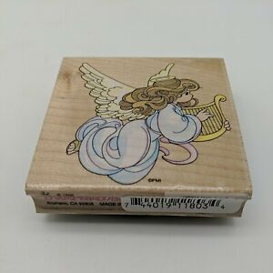 """Stampendous Precious Moments Rubber Stamp Harp Angel Heaven 2.75"""" x 2.75"""""""