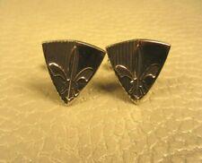 MCM  Triangular Fleur de Lis Black Enamel White Gold Plated Cuff Links