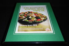 Wendy's 2004 Spinach Chicken Salad 11x14 Framed ORIGINAL Advertisement