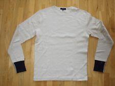Gant Uomo di cotone a manica lunga strappati t-shirt top girocollo beige M NUOVO