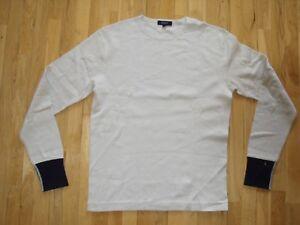 Gant Long Sleeve Cotton Rib T-Shirt Top Sweatshirt Crew Neck Beige Sand M New