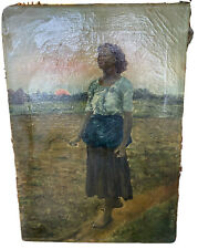 Antique 19th Century Oil on Canvas Woman Posed in Field Painting UNSIGNED