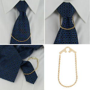 Foster USA Tie Chain Rope Link Yellow Gold Tone Button Hole Attachement