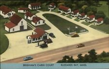 Buzzards Bay Cape Cod Brigham's Cabin Court NICE LINEN Postcard