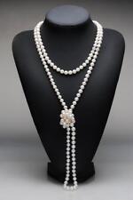 Vintage Genuine Strand White Potato Freshwater Pearls 6-7mm  Long Necklace 160cm