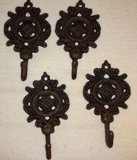SET OF 4-Bronze Ornate Metal Hooks/Towel/Hat/Book Bag/Decor Hanger/Hook