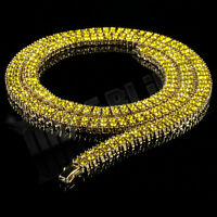 14k Gold Yellow Canary 2 ROW Lemonade Crystal CZ Iced Out Chain Hip Hop Necklace