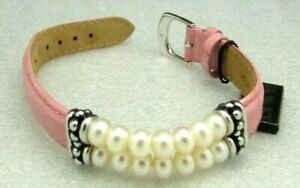 Honora Rondel Pearl & PINK Leather Silver Plated Bracelet NEW WITH TAGS