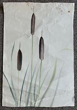 Chiura Obata Color Ink Wash of Water Reed Botanical Plants Japan American Art