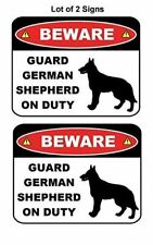 2 Count Beware Guard German Shepherd (Silhouette) on Duty Laminated Dog Sign