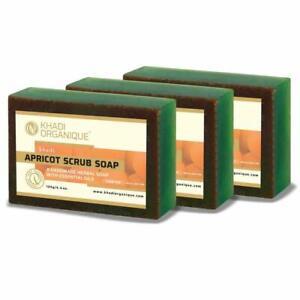 Khadi organique handmade apricot scrub soap pack of 3 100% herbal natural soap